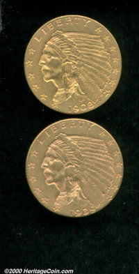 1908 $2 1/2 AU 55, the vivid surfaces are awash in orange and green-gold color; and a 1909 AU 55 Lightly Cleaned, althou...