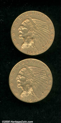 1909 $2 1/2 XF 40, deep copper-gold patina has accumulated in the recessed areas; and a 1912 VF 35, the tan-gold obverse...