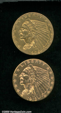 1909 $2 1/2 MS 60 Cleaned, watery olive-gold surfaces; and a 1913 MS 60 Cleaned, brightness with a reddish tint