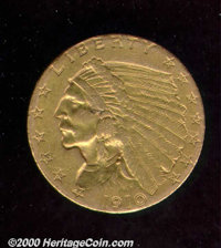 1910 $2 1/2 XF 45 Solder on Rim. Mounted at one time and used for jewelry purposes, the coin has many small abrasions fr...