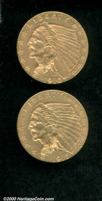1910 $2 1/2 MS 62; and a 1915 MS 62. The first example displays bright, orange-gold features, the second coin is somewha...