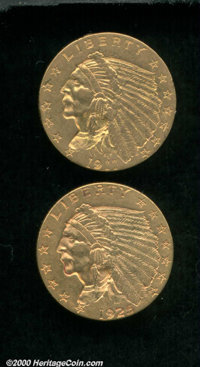 1911 $2 1/2 AU 50 Lightly Cleaned, a few old scratches diagonally cross the reverse; and a 1925-D AU 50 Lightly Cleaned...