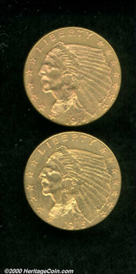 1914 $2 1/2 AU 58; and a 1915 AU 58. While the first example is reddish-gold in color, the second coin displays bright...