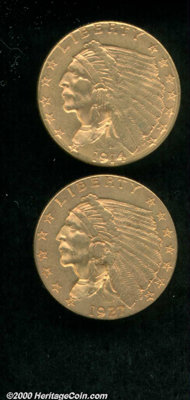 1914-D $2 1/2 AU 50 Cleaned, the strike is somewhat soft over the Indian's headdress; and a 1927 AU 50, rich reddish-gol...