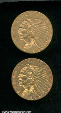 1915 $2 1/2 AU 55, the minutest signs of circulation are detectable over mark-free surfaces; and a 1927 MS 61 Light Clea...