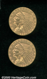 1925-D $2 1/2 MS 62; and a 1926 MS 61. A well matched pair, both coins are sharply struck and originally patinated