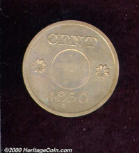 1850 P1C One Cent, Judd-119 Original, Pollock-134, R.6, PR 63. The obverse displays the inscriptions USA and ONE TENTH S...