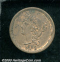 1854 P1C One Cent, Judd-160, Pollock-187, R.4, PR 50 Corroded. The obverse is similar to that used on regular issue 1854...