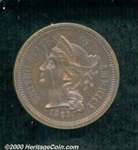 1865 3C Three Cent Nickel, Judd-411, Pollock-482, R.7, PR 64 Red and Brown. The design on both sides is similar to that...