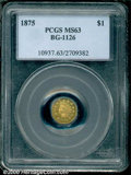 California Fractional Gold: , 1875 $1 BG-1126
