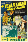"Movie Posters:Western, The Lone Ranger Rides Again (Republic, 1939). One Sheet (27"" X 41"")Chapter 8 -- ""Fatal Treasure.""..."