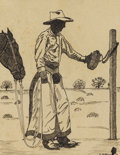 Texas:Early Texas Art - Drawings & Prints, FRANK REDLINGER (1909-1936). Untitled Cowboy with Horse andCanteen, 1932. Pen and ink. 6 1/2in. x 5in.. Signed and dated lo...