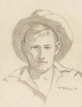 Paintings, FRANK REDLINGER (1909-1936). Untitled Cowboy, 1934. Pencil. 11in. x 8 1/2in.. Signed and dated lower right. Redlinger uses...