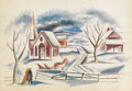 Texas:Early Texas Art - Regionalists, COREEN MARY SPELLMAN (1905-1978). Untitled Winter Scene.Watercolor. 15 1/2in. x 22in.. Signed verso. As in most ofSpellm...
