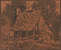 Texas:Early Texas Art - Drawings & Prints, OLIN TRAVIS (1888-1975). Untitled Pioneer Cabin. Color-block print.5in. x 6in.. Signed lower right. Provenance:. Collecti...