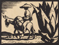 Texas:Early Texas Art - Drawings & Prints, JERRY BYWATERS (1906-1989). Untitled, late 1920s to early 1930s.Block print. 6in. x 8in.. Signed lower right in block. Sign...