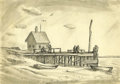 Texas:Early Texas Art - Regionalists, LLOYD GOFF (1908-1982). Untitled Fishing Shack, late 1930s to early1940s. Ink and wash. 10in. x 14in.. Unsigned, accompanie...