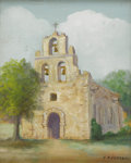 Texas:Early Texas Art - Impressionists, F. A. CLOONAN (1865-1950). Mission Espada. Oil on artistboard. 9 1/2in. x 7 1/2in.. Signed lower right. ...