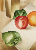 Texas:Early Texas Art - Regionalists, HELEN SPELLMAN (1915-2002). Untitled Still Life with Peppers andApple, 1930s. Watercolor. 13in. x 9 3/4in.. Signed lower ri...