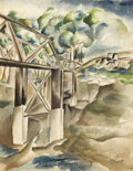 Texas:Early Texas Art - Regionalists, COREEN MARY SPELLMAN (1905-1978). Untitled Suspension Bridge,1930s. Watercolor. 14 1/2in. x 11 1/4in.. Unsigned. This won...