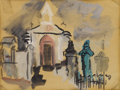 Texas:Early Texas Art - Modernists, VERONICA HELFENSTELLER (1910-1964). Untitled Church with Graveyard.Watercolor and gouache. 8in. x 11in.. Signed lower right...