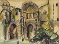 Texas:Early Texas Art - Modernists, VERONICA HELFENSTELLER (1910-1964). Cathedral Cuernavaca,1940s. Watercolor and gouache. 9in. x 11in.. Signed lower righ...