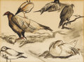 Texas:Early Texas Art - Modernists, GEORGE GRAMMER (b. 1928). Untitled Turkey Buzzards, Ducks, andShore Birds, 1951. Watercolor and gouache. 10in. x 13in.. Sig...