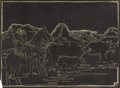 Texas:Early Texas Art - Drawings & Prints, FRANK REDLINGER (1909-1936). Untitled Keeping Watch By Night,1930s. Block print. 8 1/4in. x 11in.. Signed in block lower ri...