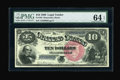 Large Size:Legal Tender Notes, Fr. 105 $10 1880 Legal Tender PMG Choice Uncirculated 64EPQ. Thepaper originality is bold and easy to see on this much scar...