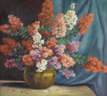 Texas:Early Texas Art - Regionalists, MARY EDWARDS (1871-1951). Still Life With Crepe Myrtle,1940s. Oil on canvas. 30in. x 34in.. Signed lower right. Prove...