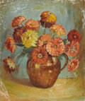 Texas:Early Texas Art - Impressionists, ADELE BRUNET (1871-1965). Zinnias. Oil on canvasboard. 24in.x 20in.. Signed lower right. ...