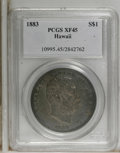 Coins of Hawaii: , 1883 $1 Hawaii Dollar XF45 PCGS. Deeply toned a charcoal-brown. Theremaining design details ...