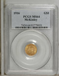 Commemorative Gold: , 1916 G$1 McKinley MS64 PCGS. Apricot-gold surfaces display hints oflight green along with pleasing luster, and sharp and u...