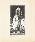 Texas:Early Texas Art - Drawings & Prints, RALPH BRYAN (1892-1965). The Town Hall-Highland Park, 1932.Block print. 10in. x 5in.. Signed, dated, and titled lower l...