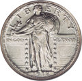 Errors: , 1918 25C Standing Liberty Quarter--Double Struck in Collar--AU58 Full Head NGC. This piece remained stationary between stri...
