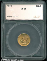1902 $2 1/2 MS 66 SEGS. Soft golden patina decorates both sides of this well defined Gem. For pedigree purposes, a small...