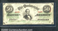 Confederate Notes:1863 Issues, 1863 $50 Black with green overprint; Jefferson Davis, T-57, Fin...