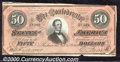 Confederate Notes:1864 Issues, 1864 $50 Portrait of Jefferson Davis; Black with Reddish Overpr...