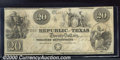 Miscellaneous:Republic of Texas Notes, 1841 $20 Republic of Texas, VF. Cr-A6. A crisp, solid example w...