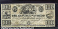 Miscellaneous:Republic of Texas Notes, 1840 $100 Republic of Texas, VF. This pleasing example displays...