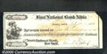 Miscellaneous:Checks, This check is dated February 11, 1872 from the First National B...