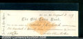 Miscellaneous:Checks, This VF check is dated August 2, 1879 and was drawn on Archer &...
