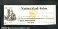 Miscellaneous:Checks, The National Bank of Salem, New York issued this AU check on No...