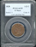1828 1/2 C 13 Stars AU 55 PCGS. B-2, C-2, R.1. A smooth, reddish-brown example with attractive surfaces and pleasing eye...