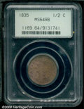 1835 1/2 C MS 64 Red and Brown PCGS. B-1, C-1, R.1. An attractive example with fiery red surfaces that are somewhat fade...