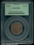 1856 1/2 C MS 63 Red and Brown PCGS. Glossy brown patina is noted in the open fields and over the raised features of the...