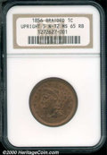 1856 1C Upright 5 MS 65 Red and Brown NGC. N-12. Very well defined and evenly mellowed from side-to-side, with a few sca...