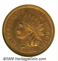 1864 1C Bronze PR 65 Red and Brown NGC. Olive-tan patina and orange-red luster are noted with equal intensity on both si...