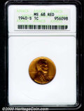 1940-S 1C MS 68 Red ANACS. The orange-red surfaces are devoid of both patina and bothersome abrasions. Sharply struck, p...