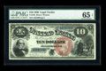 Large Size:Legal Tender Notes, Fr. 103 $10 1880 Legal Tender PMG Gem Uncirculated 65 EPQ. Brightcolor and deep original embossing highlight this Large Red...